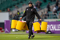21st May 2021; Twickenham, London, England; European Rugby Challenge Cup Final, Leicester Tigers versus Montpellier; Leicester Head Coach Steve Borthwick helps during the warm up