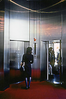 Osaka: Sony Tower--elevators. Kisho Kurokawa. Photo '82.