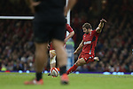 Fullback Leigh Halfpenny kicks a penalty to put Wales in the lead.<br /> Dove men Series 2014<br /> Wales v New Zealand<br /> 22.11.14<br /> ©Steve Pope -SPORTINGWALES
