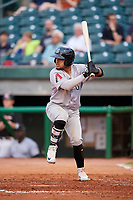 Jackson Generals third baseman Juniel Querecuto (9) at bat during a game against the Chattanooga Lookouts on May 9, 2018 at AT&T Field in Chattanooga, Tennessee.  Chattanooga defeated Jackson 4-2.  (Mike Janes/Four Seam Images)