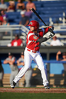 Batavia Muckdogs designated hitter Colby Lusignan (35) at bat during a game against the Aberdeen Ironbirds on July 14, 2016 at Dwyer Stadium in Batavia, New York.  Aberdeen defeated Batavia 8-2. (Mike Janes/Four Seam Images)