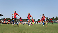 CARY, NC - SEPTEMBER 12: Diane Caldwell #7, Brittany Ratcliffe #27, and Meredith Speck #25 of the North Carolina Courage warm up before a game between Portland Thorns FC and North Carolina Courage at Sahlen's Stadium at WakeMed Soccer Park on September 12, 2021 in Cary, North Carolina.