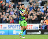 Neil Taylor of Swansea City applauds the fans after the final whistle during the Barclays Premier League match between Newcastle United and Swansea City played at St. James' Park, Newcastle upon Tyne, on the 16th April 2016