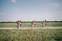 """Martijn Budding (NED/Roompot Nederlandse loterij) , Jan-Willem Van Schip (NED/Roompot-Nederlandse Loterij) & Guillaume Van Keirsbulck (BEL/Wanty-Groupe Gobert) riding off<br /> <br /> Antwerp Port Epic 2018 (formerly """"Schaal Sels"""")<br /> One Day Race:  Antwerp > Antwerp (207 km; of which 32km are cobbles & 30km is gravel/off-road!)"""