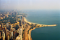Chicago: Chicago Panorama from Hancock looking north along Gold Coast to Lincoln Park & Zoo, North Ave. Beach & Boat Basin. Photo '88.