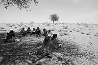 Sudan-Tchad border, June 19, 2004.A Sudanese family has just crossed the border totry to find protection from the repeated incursions of the Djanjavid militia across the border from Sudan.