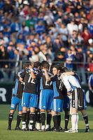 San Jose Earthquakes huddle before the game. .The San Jose Earthquakes tied FC Dallas 0-0, at Buck Shaw Stadium, in Santa Clara, California, Saturday, May 3, 2008. .