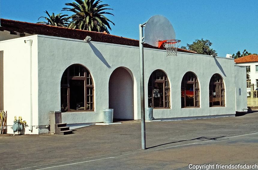 Rear of La Jolla Recreation Center, 1980's addition by Tripp Bennett, AIA. Original Irving Gill.Photo 1999