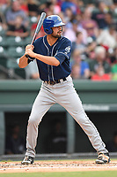 Left fielder Jacob Bosiokovic (21) of the Asheville Tourists bats in a game against the Greenville Drive on Wednesday, August 2, 2017, at Fluor Field at the West End in Greenville, South Carolina. Greenville won, 1-0. (Tom Priddy/Four Seam Images)