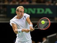 Switserland, Genève, September 18, 2015, Tennis,   Davis Cup, Switserland-Netherlands, Thiemo de Bakker (NED)<br /> Photo: Tennisimages/Henk Koster