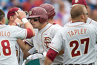Florida State's  CF Tyler Holt against TCU in Game 1 of the NCAA Division One Men's College World Series on Saturday June 19th, 2010 at Johnny Rosenblatt Stadium in Omaha, Nebraska.  (Photo by Andrew Woolley / Four Seam Images)