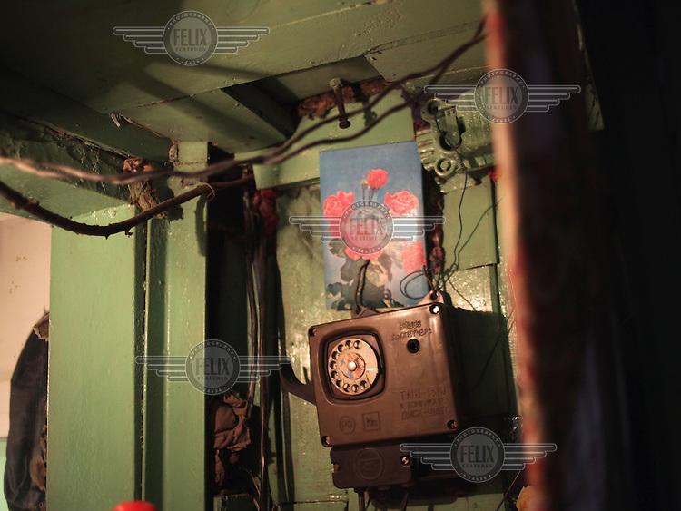 The lift operator's room in the Navagrodovskaya coal mine, West Donetsk.