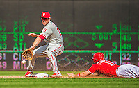 15 September 2013: Washington Nationals third baseman Ryan Zimmerman slides safely into second ahead of the throw to Chase Utley during the 5th inning against the Philadelphia Phillies at Nationals Park in Washington, DC. The Nationals took the rubber match of their 3-game series 11-2 to keep their wildcard postseason hopes alive. Mandatory Credit: Ed Wolfstein Photo *** RAW (NEF) Image File Available ***