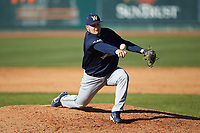 Wingate Bulldogs relief pitcher Cameron Smetak (45) in action against the Catawba Indians at Newman Park on March 19, 2017 in Salisbury, North Carolina. The Indians defeated the Bulldogs 12-6. (Brian Westerholt/Four Seam Images)