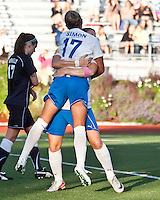 Boston Breakers forward Katie Schoepfer (2) and Boston Breakers forward Kyah Simon (17) celebrate Kyah's goal in the first half.  The Boston Breakers beat the New York Fury 2-0 at Dilboy Stadium