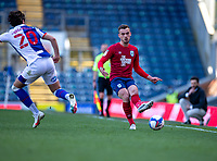 24th April 2021; Ewood Park, Blackburn, Lancashire, England; English Football League Championship Football, Blackburn Rovers versus Huddersfield Town;  Harry Toffolo of Huddersfield Town plays a ball down the touchline