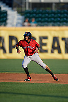 Erie SeaWolves second baseman Willi Castro (11) leads off second base during a game against the Harrisburg Senators on August 29, 2018 at FNB Field in Harrisburg, Pennsylvania.  Harrisburg defeated Erie 5-4.  (Mike Janes/Four Seam Images)