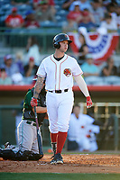 Florida Fire Frogs left fielder Braxton Davidson (24) at bat during a game against the Daytona Tortugas on April 6, 2017 at Osceola County Stadium in Kissimmee, Florida.  Daytona defeated Florida 3-1.  (Mike Janes/Four Seam Images)