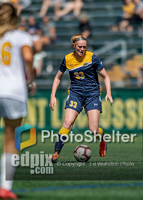 1 September 2019: Merrimack College Warrior Midfielder Bridget Austin, a Junior from East Greenbush, NY, in action against the University of Vermont Catamounts in Game 3 of the TD Bank Women's Soccer Classic at Virtue Field in Burlington, Vermont. The Lady Warriors rallied in the second half to defeat the Catamounts 2-1. Mandatory Credit: Ed Wolfstein Photo *** RAW (NEF) Image File Available ***