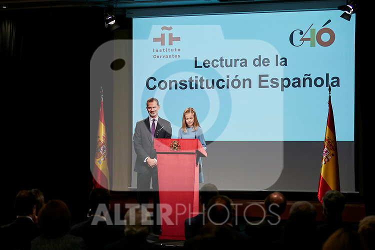 King Felipe VI of Spain and Princess Leonor of Spain attends to the Reading of the Spanish Constitution for the 40th anniversary of its approval by the Congress at Instituto Cervantes in Madrid, Spain. October 31, 2018. (ALTERPHOTOS/A. Perez Meca)