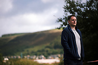 "Pictured: Actor Sam Coombes who plays Lewis<br /> Re: Press rehearsal of ""We'Re Still Here"", a play created by Rachel Trezise, Common Wealth and the National Theatre Wales about steelworkers, which will be performed in Byass Works, a disused industrial unit, in Port Talbot, south Wales, UK."