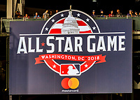 15 August 2017: The Washington Nationals display the 2018 All-Star Game Sign  Matt Wieters and third baseman Anthony Rendon take the field between innings during a game against the Los Angeles Angels at Nationals Park in Washington, DC. The Nationals defeated the Angels 3-1 in the first game of their 2-game series. Mandatory Credit: Ed Wolfstein Photo *** RAW (NEF) Image File Available ***
