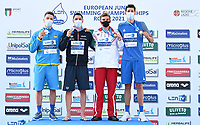Podium<br /> 50m Breaststroke Men<br /> CERASUOLO Simone ITA Italy Gold Medal<br /> KRYZHANIVS'KYY Rostyslav UKR Ukraine Silver Medal<br /> LISOVETS' Volodymyr UKR Bronze Medal<br /> SKORA Bartosz POL Bronze Medal<br /> LEN European Junior Swimming Championships 2021<br /> Rome 2179<br /> Stadio Del Nuoto Foro Italico <br /> Photo Andrea Masini / Deepbluemedia / Insidefoto