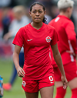 CARSON, CA - FEBRUARY 9: Jayde Riviere #8 of Canada warming up during a game between Canada and USWNT at Dignity Health Sports Park on February 9, 2020 in Carson, California.