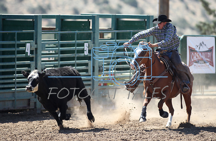 Trevor Carrasco competes in the ranch horse class slack event at the Minden Ranch Rodeo on Saturday, July 23, 2011, in Gardnerville, Nev. .Photo by Cathleen Allison