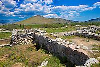 Palace of Acropolis area of Tiryns (  or ) Mycenaean city archaeological site,  Peloponnesos, Greece. A UNESCO World Heritage Site