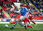 St Johnstone v Kilmarnock....20.10.12      SPL.Murray Davidson's shot is saved by Cammy Bell.Picture by Graeme Hart..Copyright Perthshire Picture Agency.Tel: 01738 623350  Mobile: 07990 594431