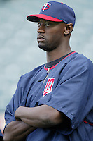 LaTroy Hawkins of the Minnesota Twins before a 2002 MLB season game against the Los Angeles Angels at Angel Stadium, in Anaheim, California. (Larry Goren/Four Seam Images)