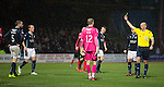 Dundee v St Johnstone....08.11.14   SPFL<br /> Ref Bobby Madden books James McPake after he fouled Brian Graham for a peanlty<br /> Picture by Graeme Hart.<br /> Copyright Perthshire Picture Agency<br /> Tel: 01738 623350  Mobile: 07990 594431