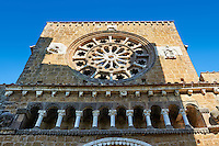 Rose Window and loggia, 1206, on the Facade of the Romanesque Basilica Church of Santa Maria Maggiore, Tuscania