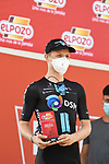 Michael Storer (AUS) Team DSM most aggressive rider from yesterday's stage at sign on before the start of Stage 8 of La Vuelta d'Espana 2021, running 173.7km from Santa Pola to La Manga del Mar Menor, Spain. 21st August 2021.     <br /> Picture: Cxcling | Cyclefile<br /> <br /> All photos usage must carry mandatory copyright credit (© Cyclefile | Cxcling)