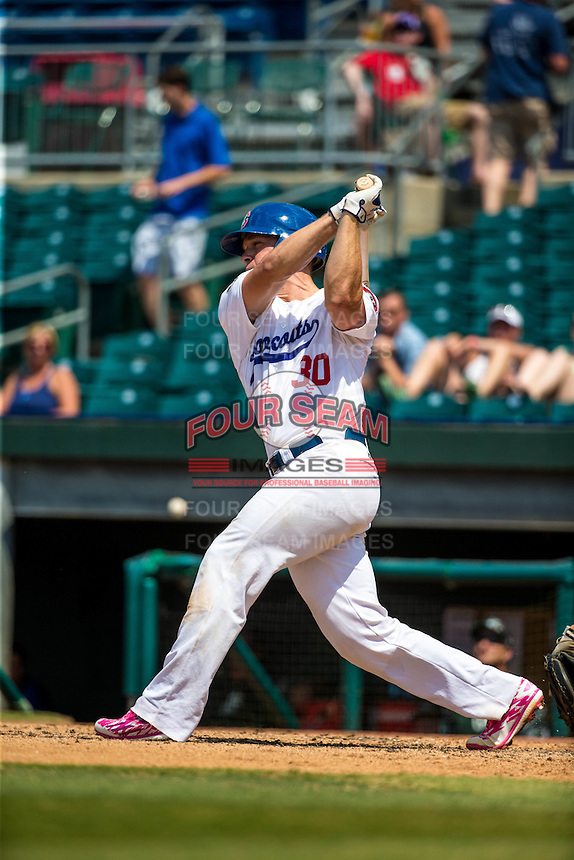 Stuart Turner (30) of the Chattanooga Lookouts bats during a game between the Jackson Generals and Chattanooga Lookouts at AT&T Field on May 10, 2015 in Chattanooga, Tennessee. (Brace Hemmelgarn/Four Seam Images)