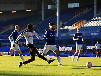 9th January 2021; Goodison Park, Liverpool, Merseyside, England; English FA Cup Football, Everton versus Rotherham United; Matthew Olosunde of Rotherham United shoots at goal from a narrow angle