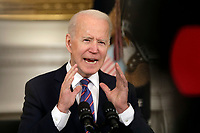 U.S. President Joe Biden delivers remarks on the March jobs report at the White House in Washington on April 2, 2021.<br /> CAP/MPI/RS<br /> ©RS/MPI/Capital Pictures