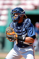 Atlanta Braves catcher Luis De La Cruz during practice before a minor league Spring Training game against the Philadelphia Phillies at Al Lang Field on March 14, 2013 in St. Petersburg, Florida.  (Mike Janes/Four Seam Images)