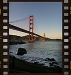 A film strip shot of the Golden Gate bridge taken at Fort Point in San Francisco, CA.