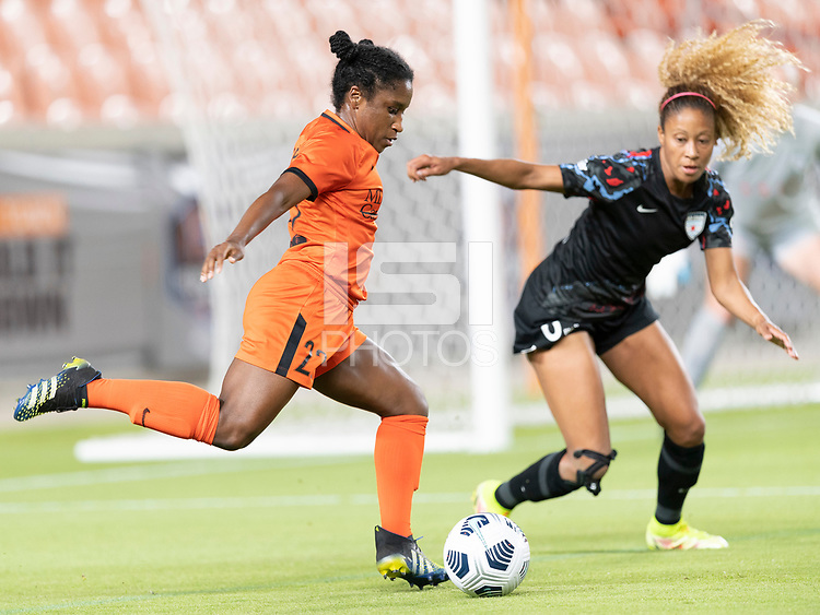 Jasmine Spencer #22 of the Houston Dash attempts a shot on the Chicago goal during a game between Chicago Red Stars and Houston Dash at BBVA Stadium on September 10, 2021 in Houston, Texas.