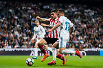 Lucas Vazquez (R) of Real Madrid fights for the ball with Unai Nunez Gestoso of Athletic Club de Bilbao during the La Liga 2017-18 match between Real Madrid and Athletic Club Bilbao at Estadio Santiago Bernabeu on April 18 2018 in Madrid, Spain. Photo by Diego Souto / Power Sport Images