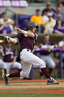 Texas A&M Aggies shortstop Blake Allemand (1) follows through on his swing during the Southeastern Conference baseball game against the LSU Tigers on April 25, 2015 at Alex Box Stadium in Baton Rouge, Louisiana. Texas A&M defeated LSU 6-2. (Andrew Woolley/Four Seam Images)