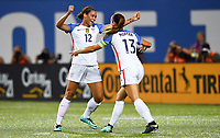 Cincinnati, OH - Tuesday September 19, 2017: Lynn Williams, Alex Morgan celebrates during an International friendly match between the women's National teams of the United States (USA) and New Zealand (NZL) at Nippert Stadium.