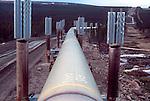 Alaska, Trans Alaska Pipeline in the Alaskan bush en route to Valdez and transshipment, Slumped permafrost on right necessitating moving pipeline route left, Arctic taiga, North America, USA.