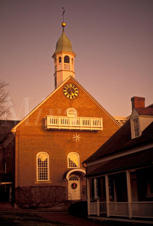 AJ3904, Old Salem, Moravian, Winston-Salem, North Carolina, Home Moravian Church in Old Salem, a living history restoration of the Moravian church town of Salem founded in 1766, in Winston-Salem in the state of North Carolina.
