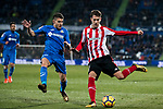 Enric Saborit Teixidor of Athletic Club de Bilbao (R) fights for the ball with Francisco Portillo Soler of Getafe CF (L) during the La Liga 2017-18 match between Getafe CF and Athletic Club at Coliseum Alfonso Perez on 19 January 2018 in Madrid, Spain. Photo by Diego Gonzalez / Power Sport Images