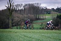 The Barnes sisters: British national champion Alice Barnes and Hannah Barnes (GBR/Canyon//Sram racing) riding the Haaghoek cobbles.<br /> <br /> 12th Women's Omloop Het Nieuwsblad 2020 (BEL)<br /> Women's Elite Race <br /> Gent – Ninove: 123km<br /> <br /> ©kramon