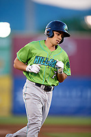 Lynchburg Hillcats left fielder Jodd Carter (7) rounds the bases after hitting a home run during a game against the Salem Red Sox on May 10, 2018 at Haley Toyota Field in Salem, Virginia.  Lynchburg defeated Salem 11-5.  (Mike Janes/Four Seam Images)