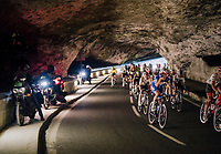 Philippe Gilbert (BEL/Quick Step floors) rolling through a spectacular huge/dark cave: the 'Grotte du Mas-d'Azil'<br /> <br /> Stage 16: Carcassonne > Bagnères-de-Luchon (218km)<br /> <br /> 105th Tour de France 2018<br /> ©kramon